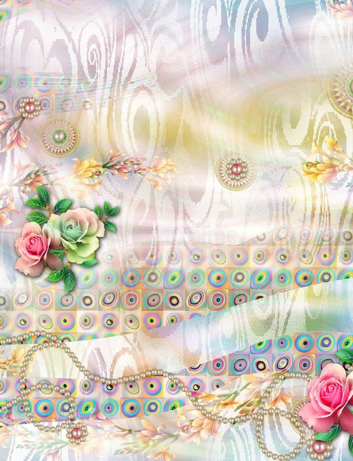 Schönes buntes digitales Blumenmuster stock abbildung