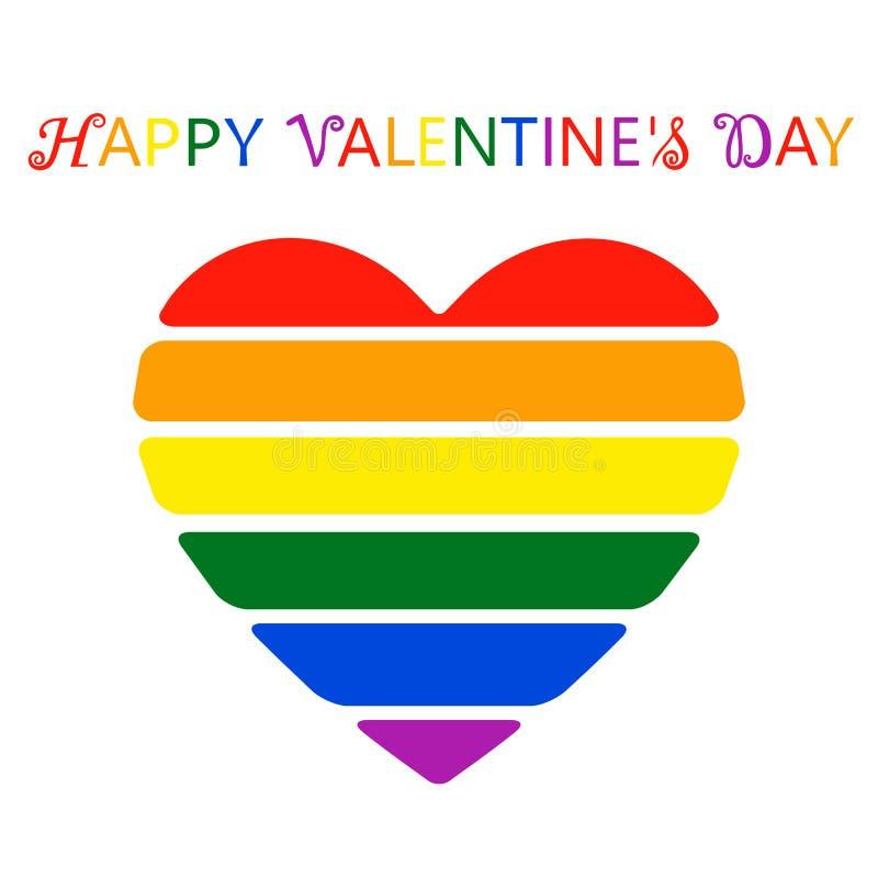 Schönes buntes Herz in den Blumen von LGBT-Flagge lizenzfreie abbildung