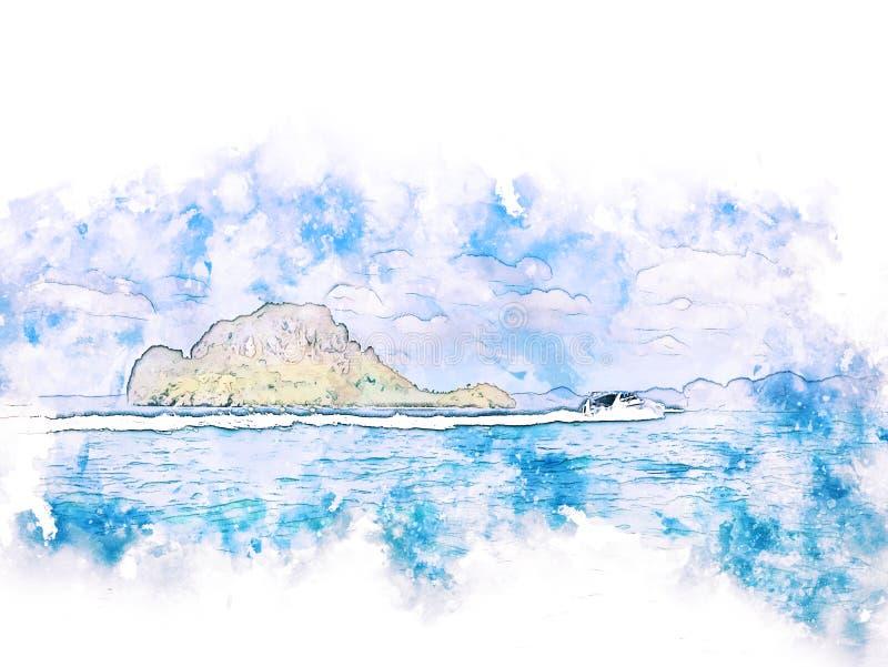 Schönes buntes weiches Wellenmeer und -berg der Zusammenfassung auf malendem Hintergrund des Aquarells lizenzfreie abbildung