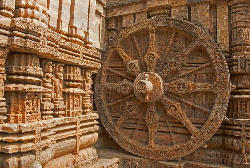 Schönes Chariot Rad, Konark Sun Tempel, Orissa lizenzfreie stockfotos