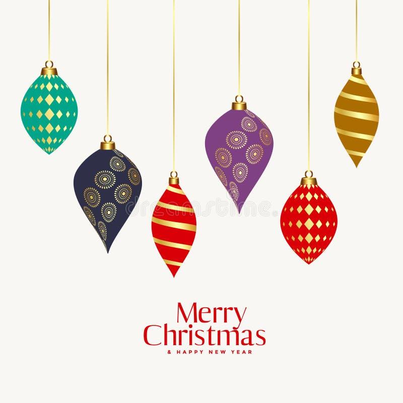 Schönes dekoratives Weihnachtsdekorative Bälle vektor abbildung