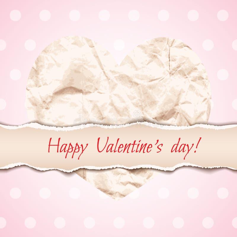 Schönes Design für Valentinstaggrußkarte mit zerknittert vektor abbildung