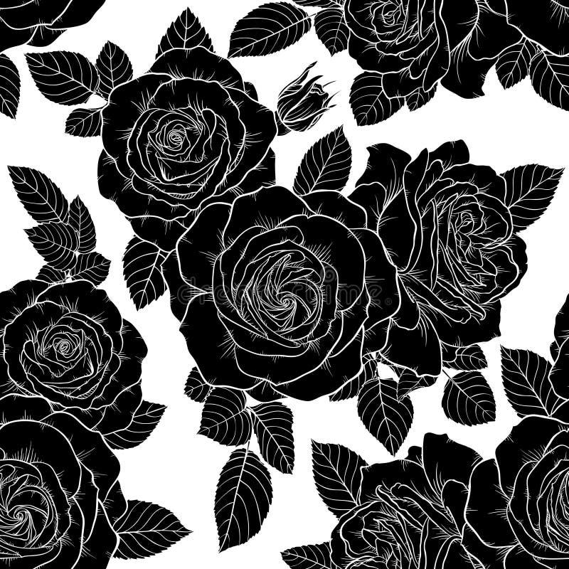 sch nes einfarbiges nahtloses schwarzweiss muster mit rosen bl tter hand gezeichnete. Black Bedroom Furniture Sets. Home Design Ideas