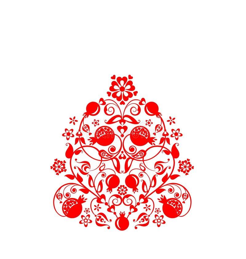 Schönes ethnisches rotes dekoratives mit Blumenmuster mit abstraktem Granatapfelbaum, -frucht und -blumen für Grußkarte, Heiratsi vektor abbildung