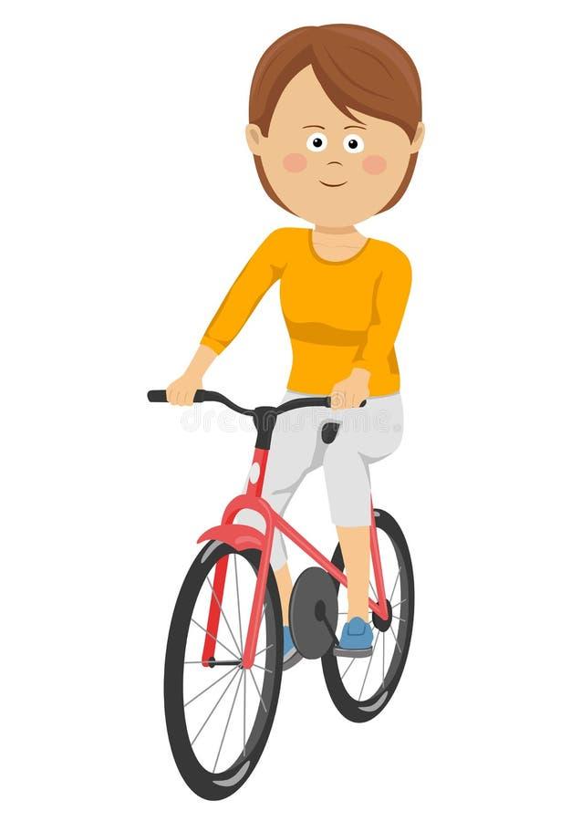 Schönes Fahrrad der jungen Frau Reitauf weißem Hintergrund lizenzfreie abbildung