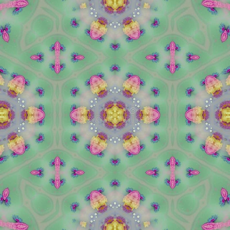 Schönes flaches Muster mit Mandala in der Knickentenfarbe stock abbildung