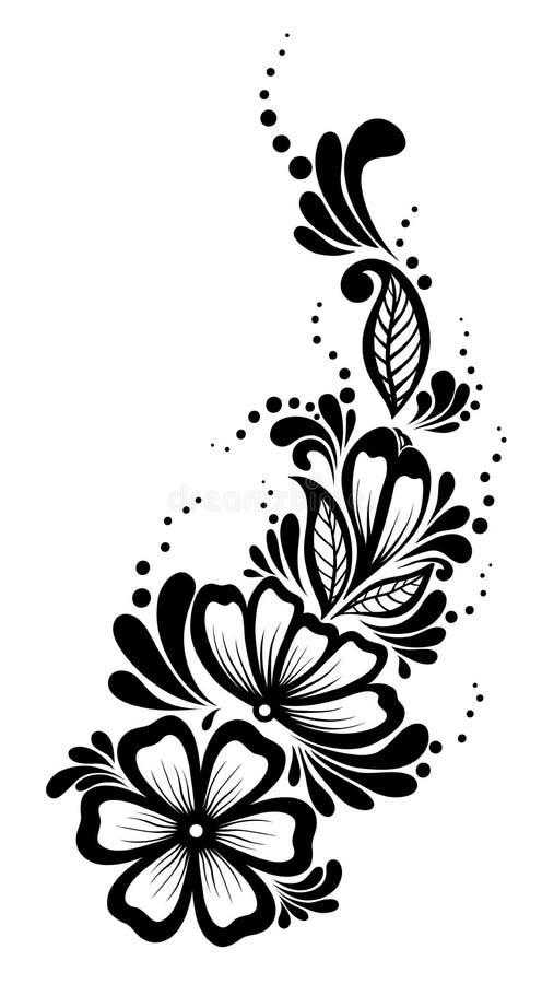 Schönes Florenelement. Schwarzweiss-Blumen Vektor Abbildung ...