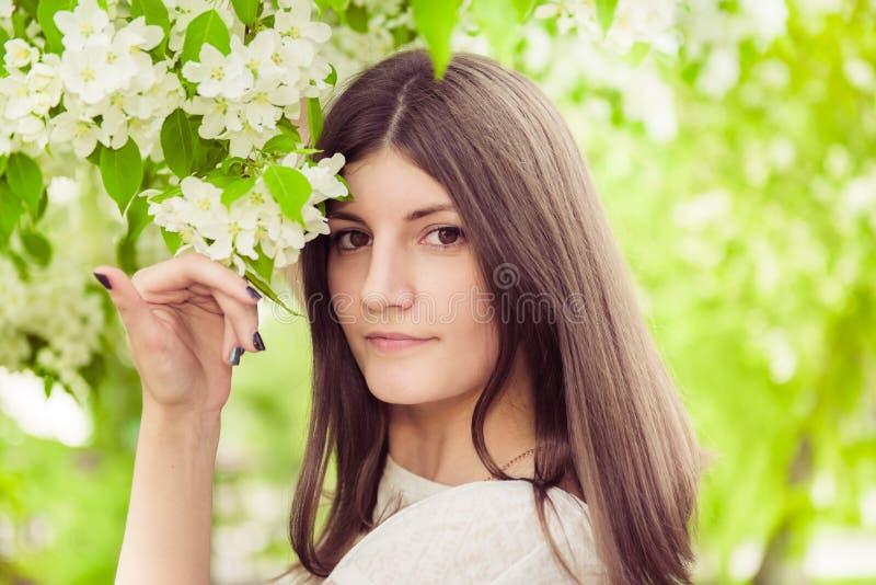Schönes Frühling Brunettemädchen stockfotografie