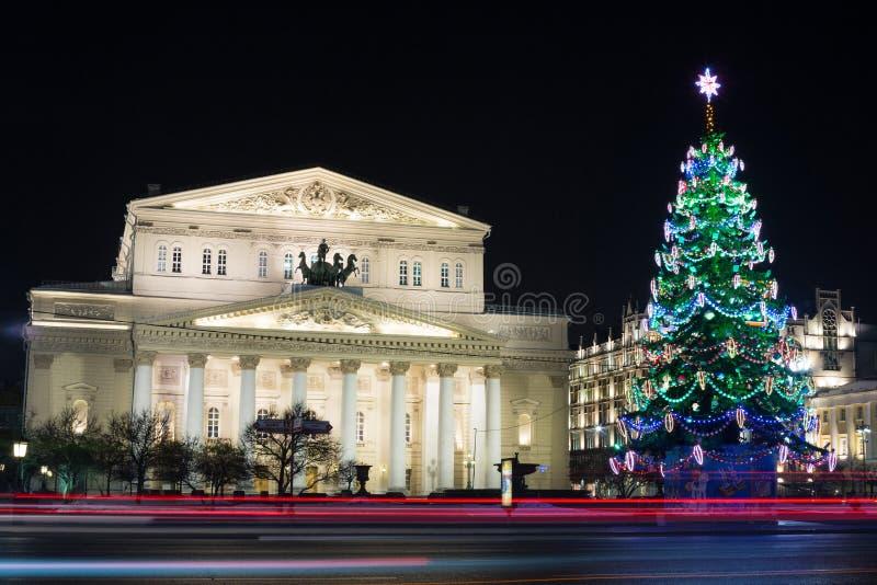 Schönes Gebäude des Bolshoi-Theaters in der Nacht lizenzfreie stockfotografie