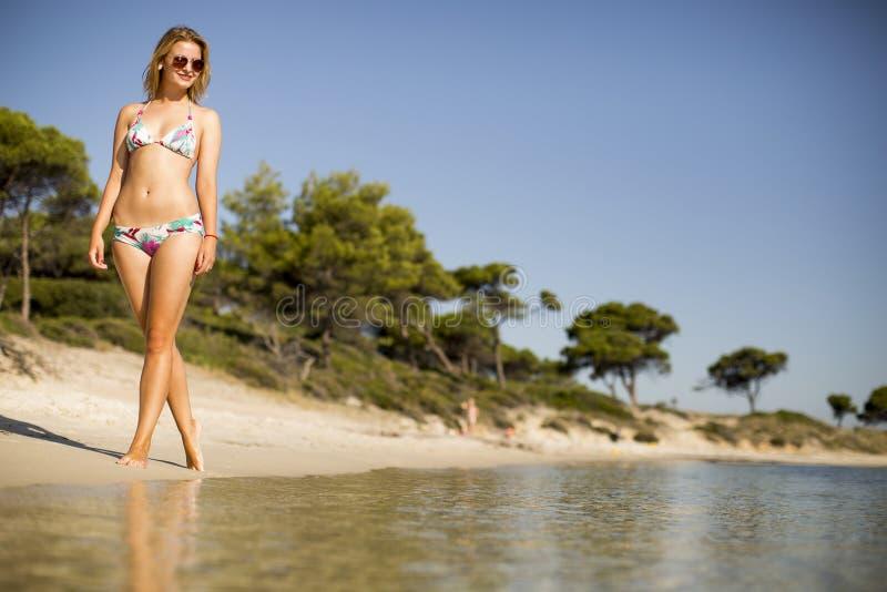 Schönes, geeignetes und sexy Mädchen im Bikini lizenzfreie stockbilder