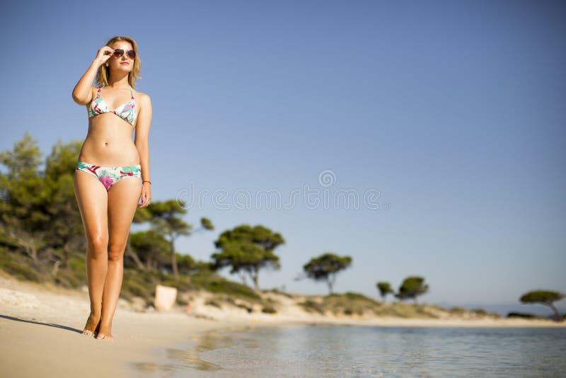 Schönes, geeignetes und sexy Mädchen im Bikinibadeanzug lizenzfreie stockfotos