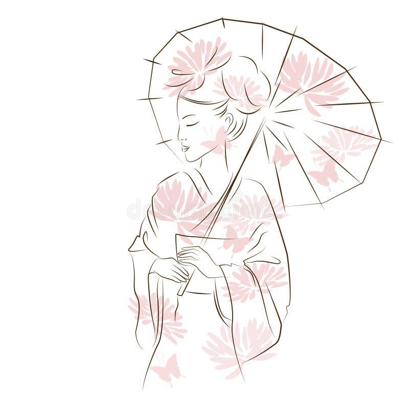 Schönes Geishamädchen vektor abbildung