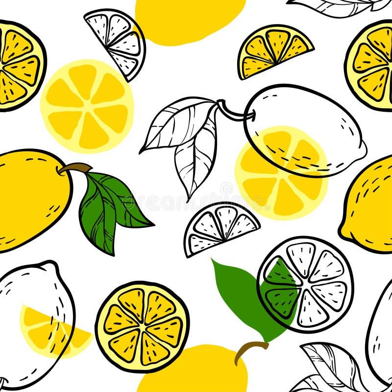 Schönes Gelb, nahtloses Gekritzelschwarzweiss-muster mit netter Gekritzelzitronenskizze Hand gezeichneter modischer Hintergrund D vektor abbildung