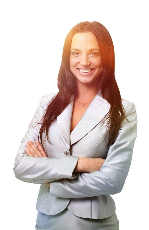 Schönes Geschäftsfraulächeln lokalisiert über einem Weiß lizenzfreie stockbilder