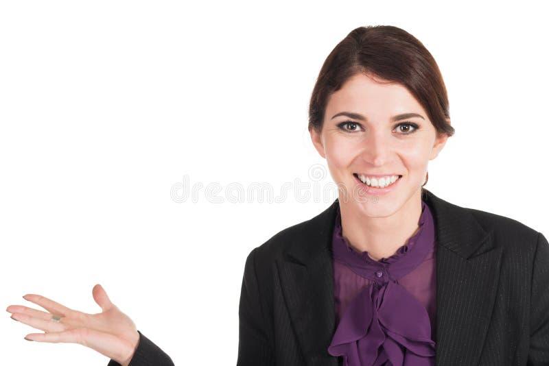 Schönes Geschäftsfraulächeln lokalisiert stockfotografie