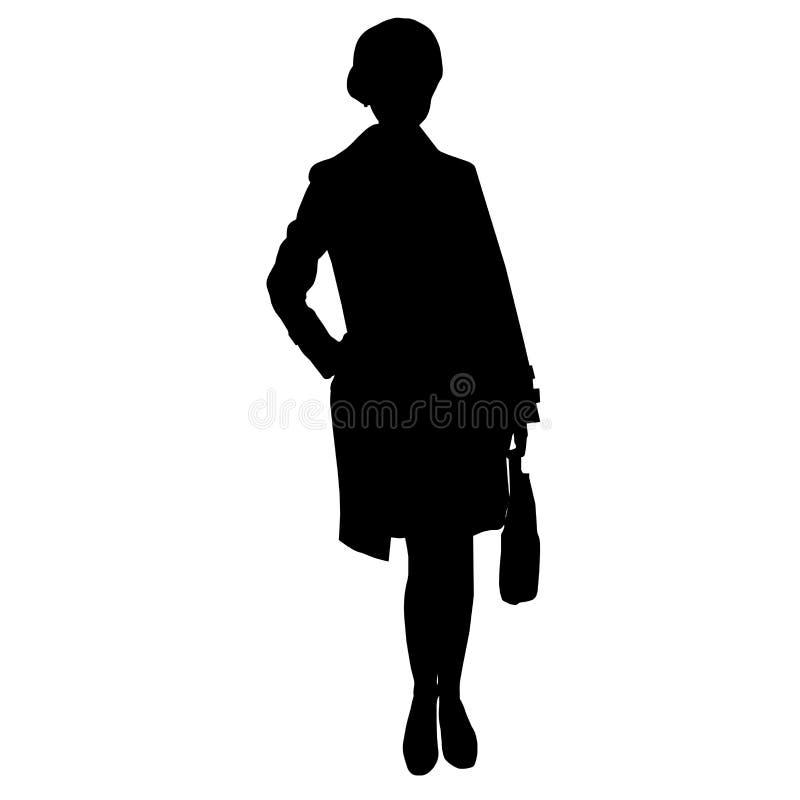 Schönes Geschäftsfraumädchen mit den langen Beinen kleidete im Anzug und im Mantel und im Halten die Tasche und stand mit der Han stock abbildung