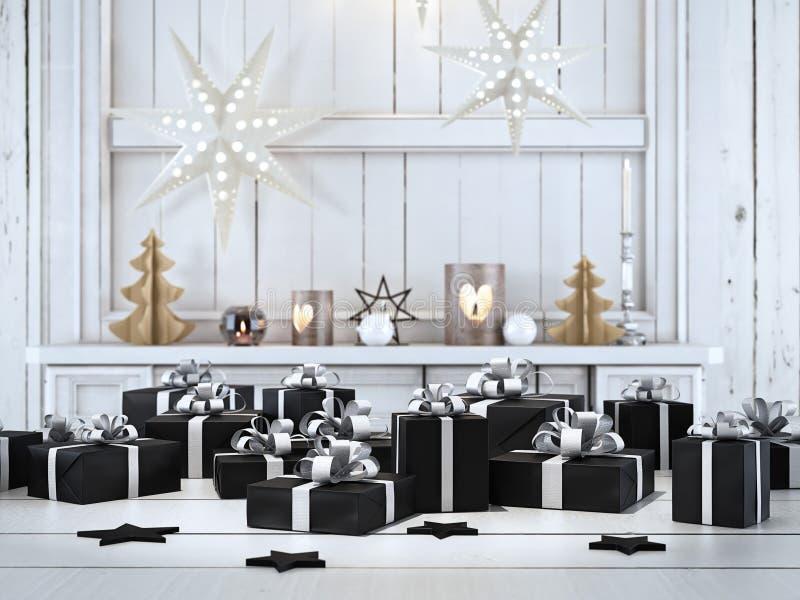 Schönes Geschenk mit Weihnachtsverzierungen Wiedergabe 3d lizenzfreie stockbilder