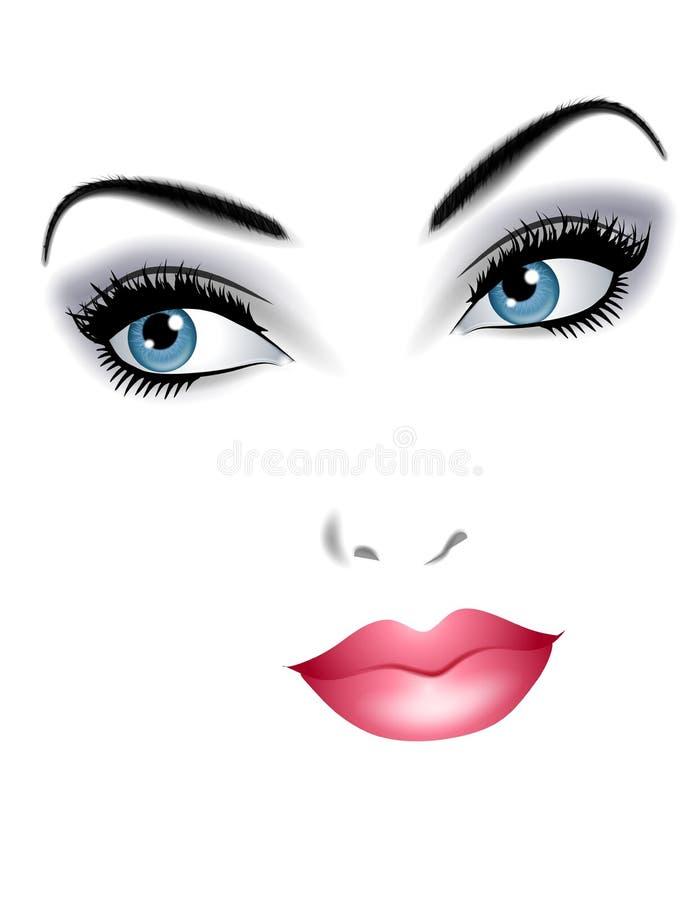 Schönes Gesicht der Frauen-Gesichtsbehandlung-Merkmale stock abbildung