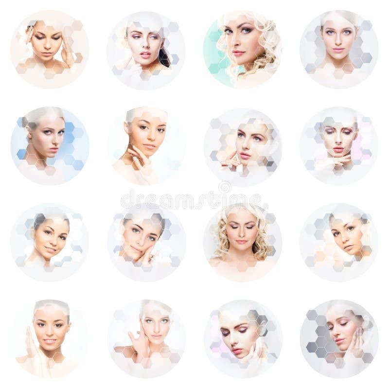 Schönes Gesicht des jungen und gesunden Mädchens in der Collage Plastische Chirurgie, Hautpflege, Kosmetik und Face lifting-Konze lizenzfreies stockbild