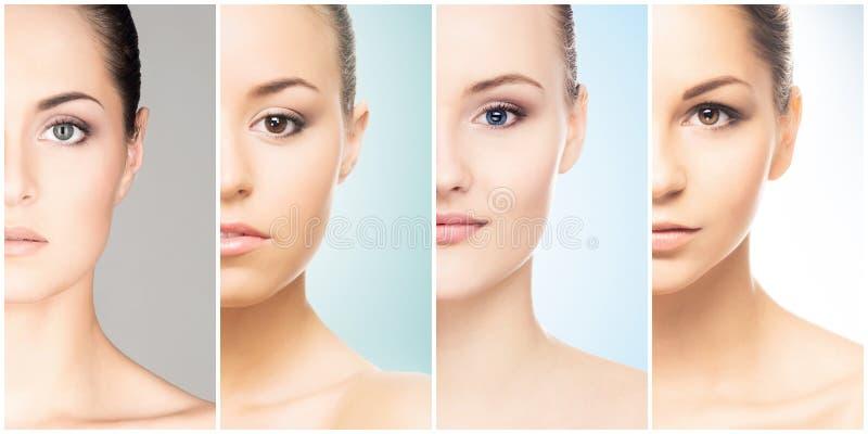 Schönes Gesicht des jungen und gesunden Mädchens in der Collagensammlung Plastische Chirurgie, Hautpflege, Kosmetik und Face lift lizenzfreie stockfotografie