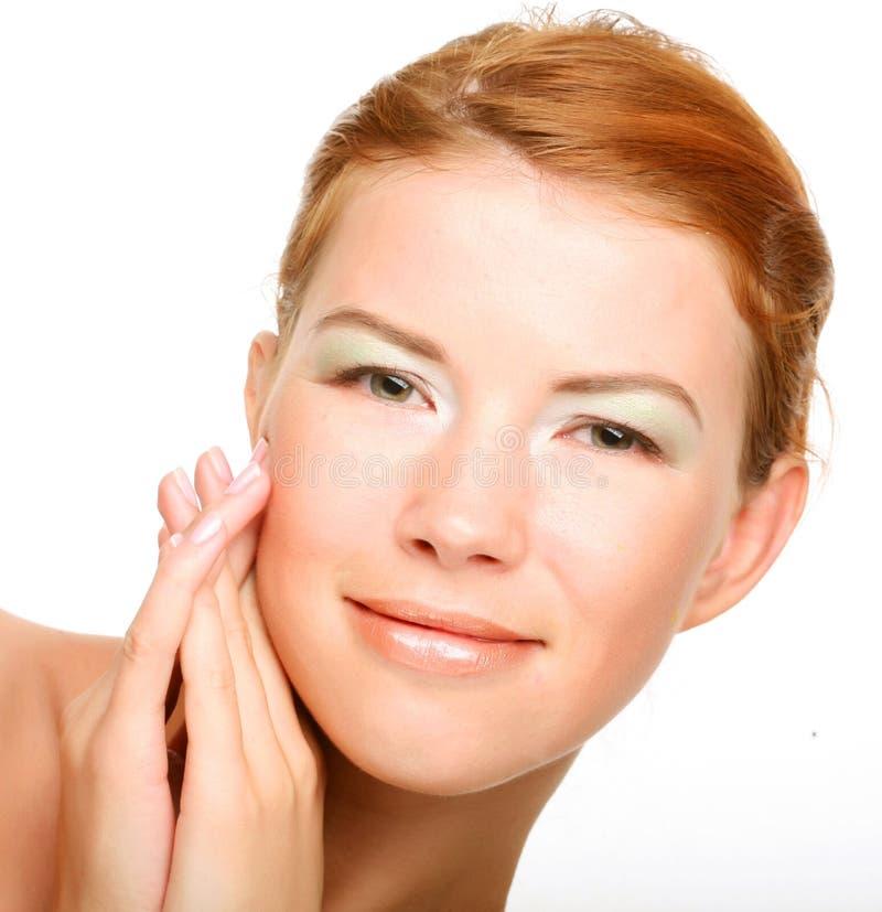 Schönes Gesundheitsfrauengesicht mit sauberer Reinheithaut stockbilder