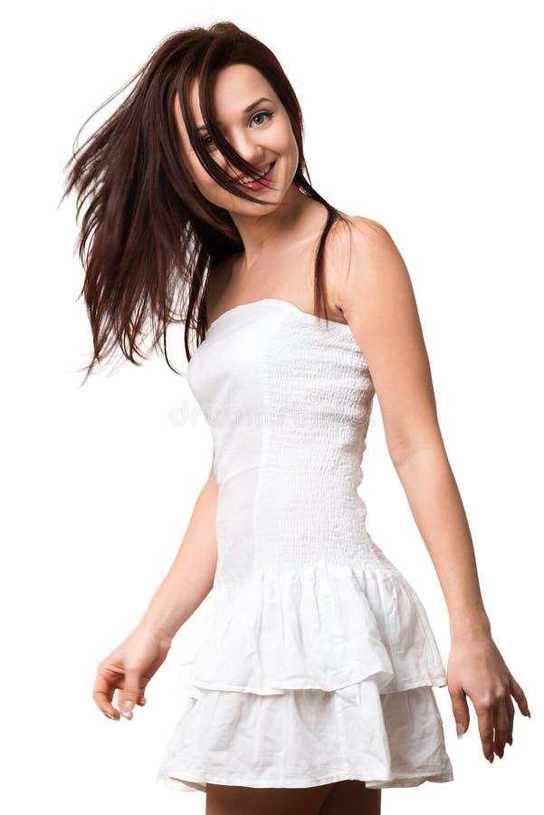 Schönes glückliches Mädchen in weiße sundress stockbilder