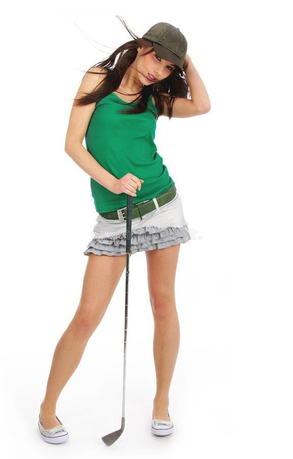 Schönes Golfspielermädchen, stockbilder