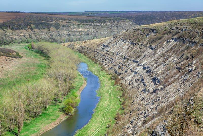 Schönes grünes Tal mit einem kleinen Strom lizenzfreies stockfoto