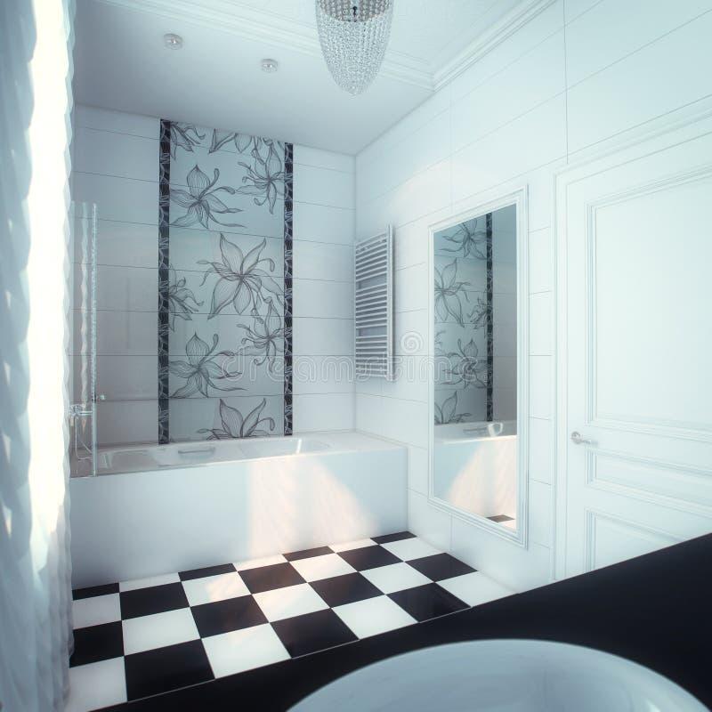 Schönes Großes Badezimmer Im Luxushaus Stockfoto - Bild von möbel ...