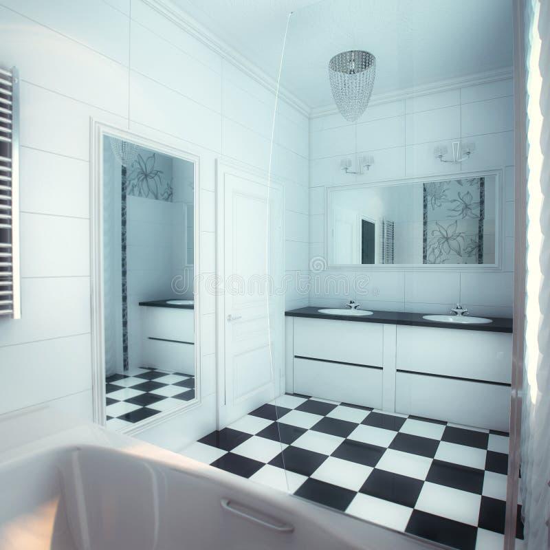 Schönes Großes Badezimmer Im Luxushaus Stockbild - Bild von gebäude ...