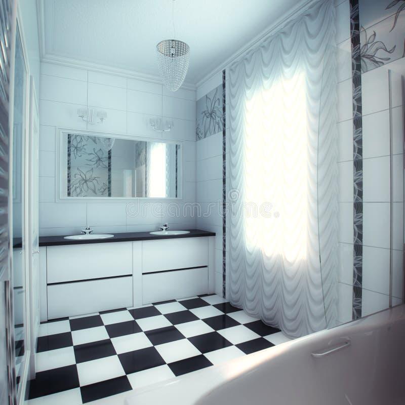 Schönes Großes Badezimmer Im Luxushaus Stockfoto - Bild von schön ...
