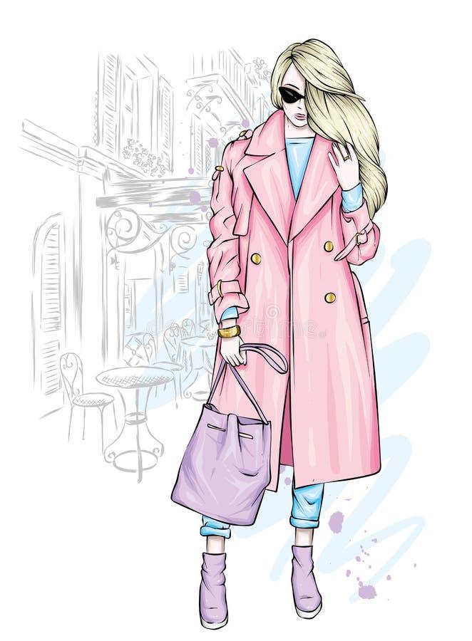 Schönes, großes und schlankes Mädchen in einem modischen Mantel, in der Hose und in den Gläsern Stilvolle Frau in den Stöckelschu lizenzfreie abbildung