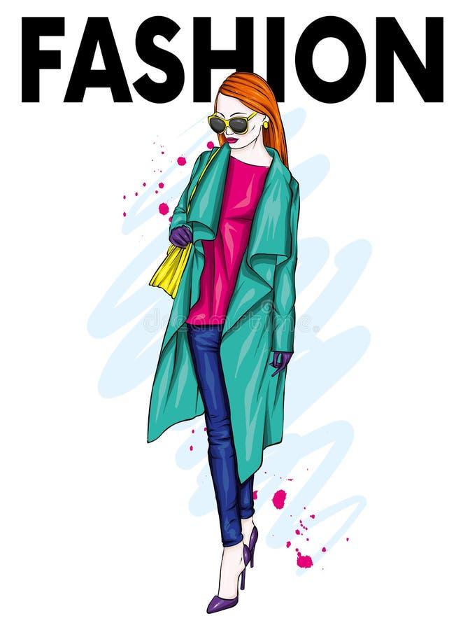 Schönes, großes und schlankes Mädchen in einem modischen Mantel, in der Hose und in den Gläsern Stilvolle Frau in den Stöckelschu vektor abbildung