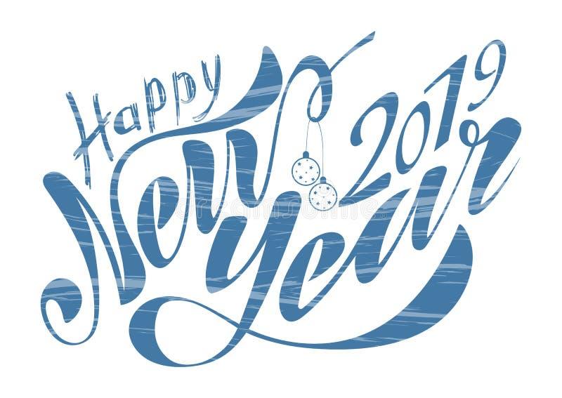 Schönes handgeschriebenes Text guten Rutsch ins Neue Jahr 2019 Vektorillustration lokalisiert auf strukturiertem Hintergrund mit  lizenzfreie abbildung