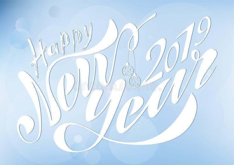 Schönes handgeschriebenes Text guten Rutsch ins Neue Jahr 2019 Vektorillustration lokalisiert auf strukturiertem Hintergrund mit  vektor abbildung