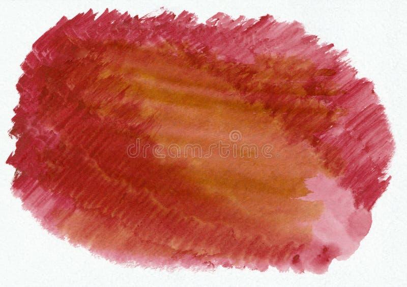 Schönes hochrotes Rot und eine orange horizontale Aquarellsteigung des Stückchen übergeben gezogenen Hintergrund lizenzfreie abbildung