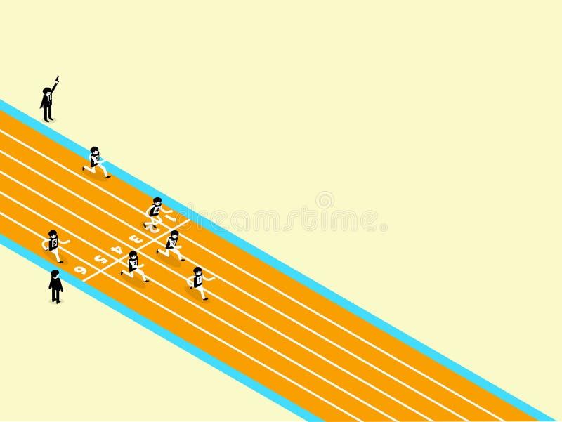 Schönes isometrisches Design von Leichtathletik auf Laufbahn mit Kopienraum vektor abbildung