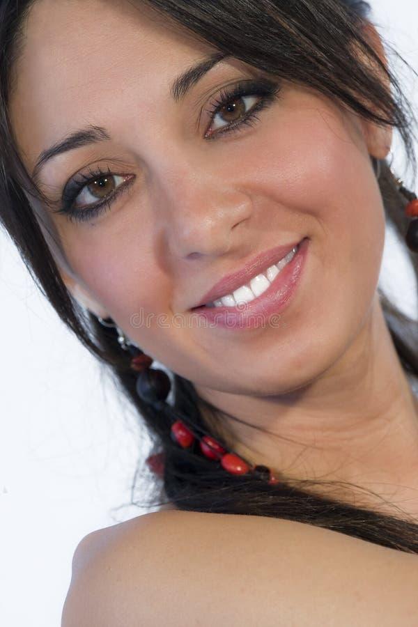Schönes jugendlich Gesicht des Frauenlächelns stockbilder