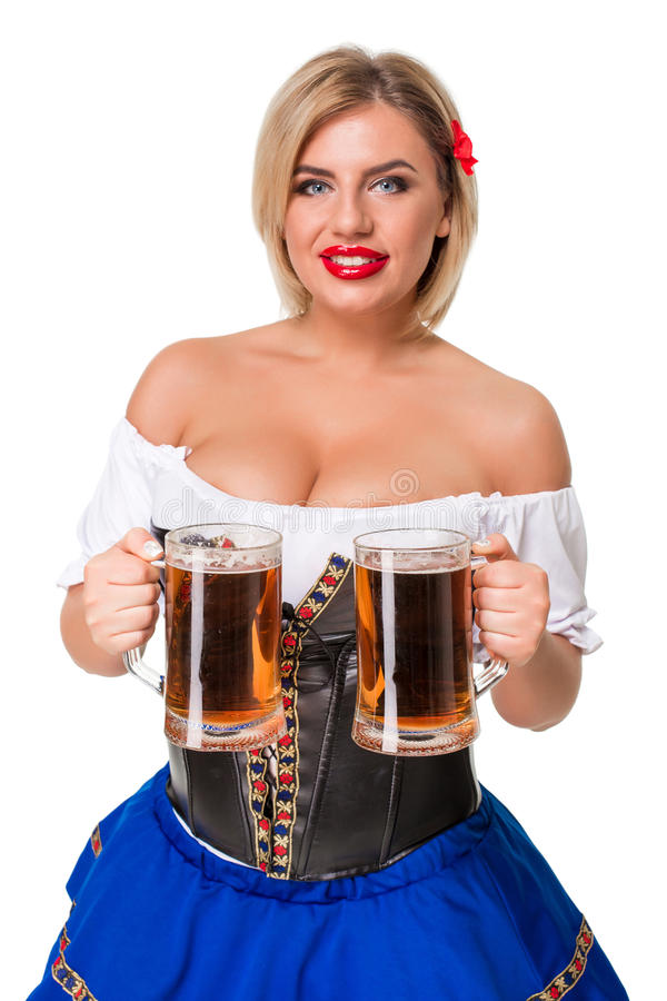 Schönes junges blondes Mädchen des oktoberfest Bierbierkrugs lizenzfreies stockfoto