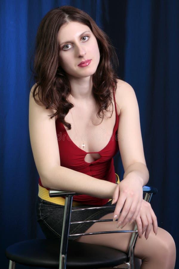 Schönes junges Brunette-Portrait lizenzfreie stockfotos