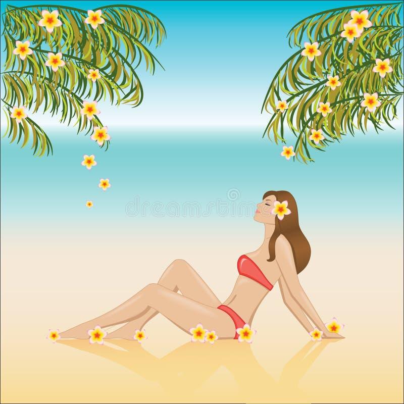 Mädchen, das auf einem Strand sich entspannt stockfoto