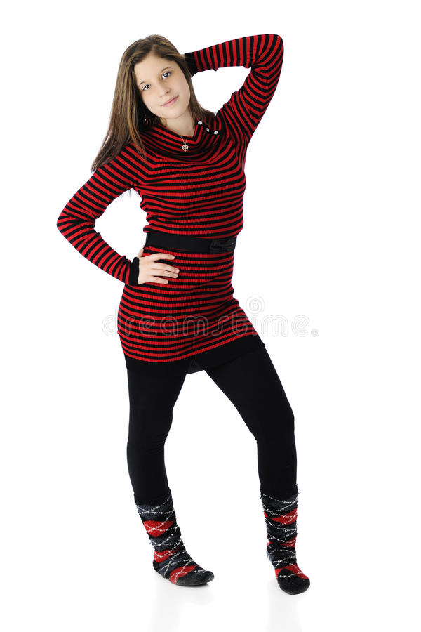 Schönes junges jugendlich im Rot und im Schwarzen lizenzfreies stockbild