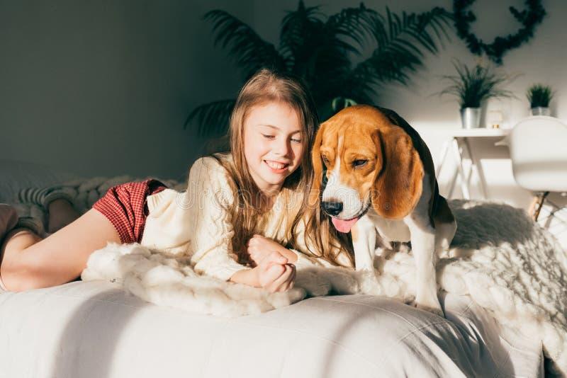 Schönes junges kaukasisches Mädchen, das mit ihrem Welpenspürhundhund spielt stockbilder