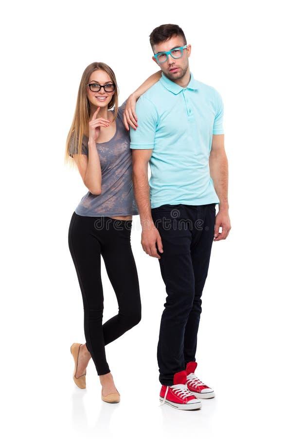 Schönes junges Lächeln, Mann und Frau des glücklichen Paars c betrachtend stockfotografie