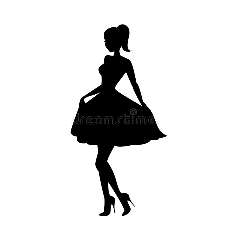 Schönes junges Mädchen, das für den Kameraikonenvektor, Flirtfrauenlogo, Zaubermodell, Mädchen an einer Partei aufwirft vektor abbildung
