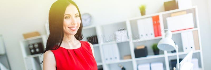 Schönes junges Mädchen in einer roten Klage steht im Büro und hält ein Notizbuch und ein Glas Kaffee stockfoto