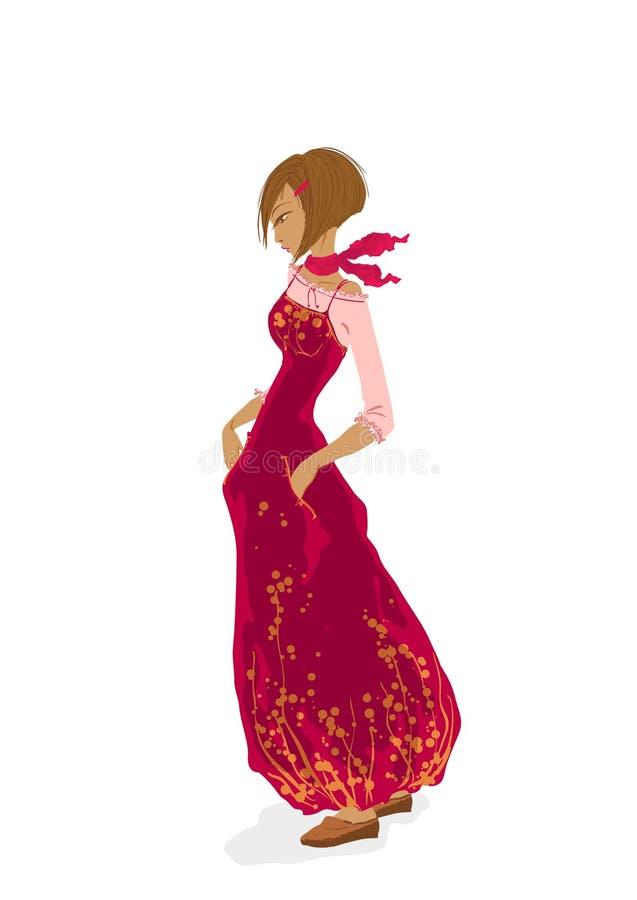 Schönes junges Mädchen im Rot vektor abbildung