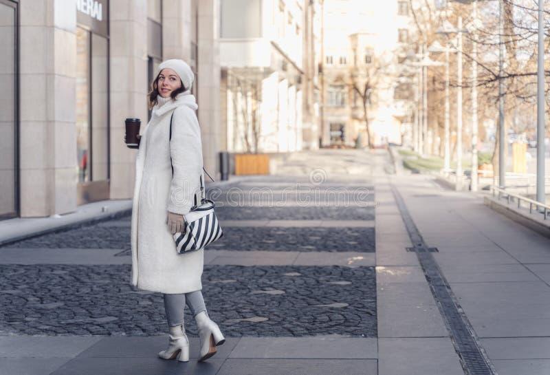 Schönes junges Mädchen im Winter stockfotografie