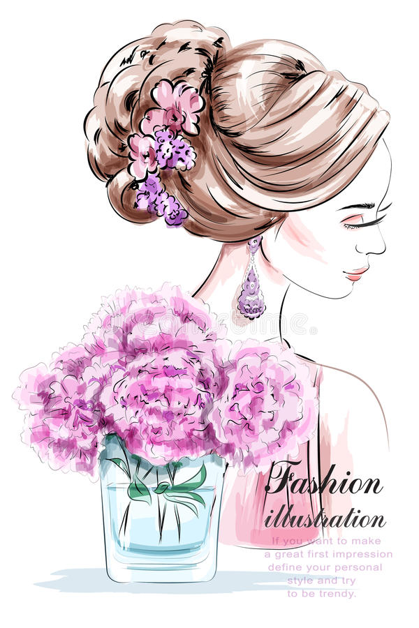 Schönes junges Mädchen mit Blumen Modefrau mit schöner Frisur skizze vektor abbildung