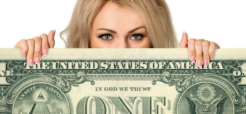 Schönes junges Mädchen mit dem Geld stockbilder